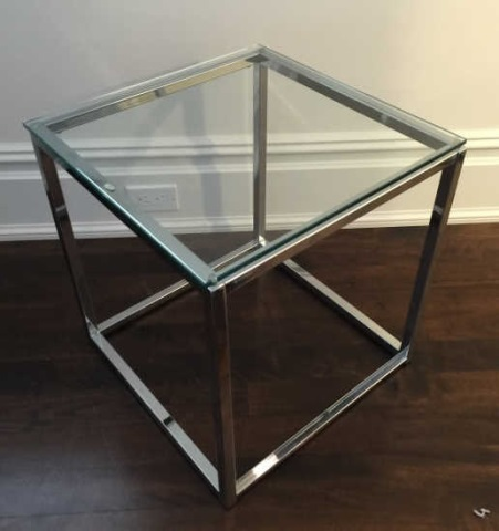 Contemporary Modern Metal & Glass End Table
