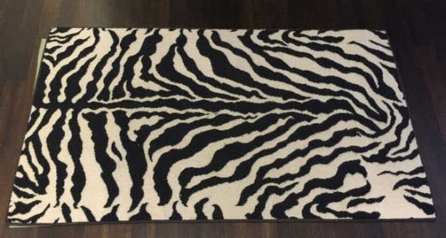 Contemporary Zebra Print Throw Rug by Stark