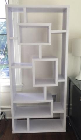 Contemporary White Mondrian Style Bookcase Unit
