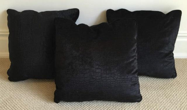 Three Custom Contemporary Crocodile Velvet Pillows