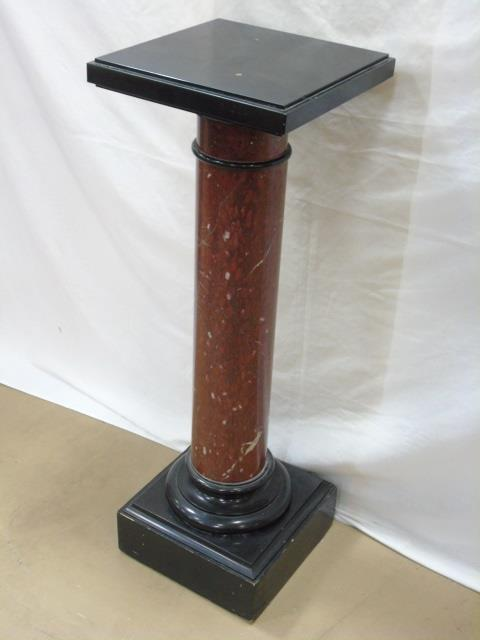 Antique 19th C Rouge Marble Pedestal Column