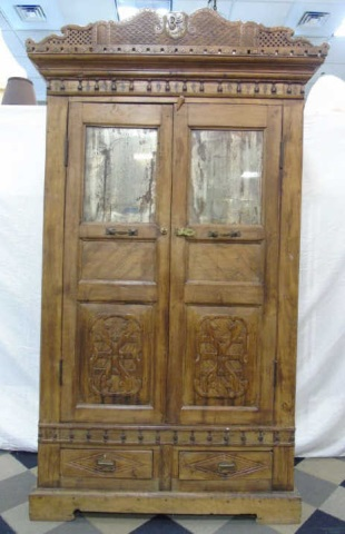 Antique Wood Indonesian Mirrored Armoire Cabinet