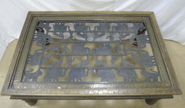 Antique Wood Figural Iron Indonesian Coffee Table