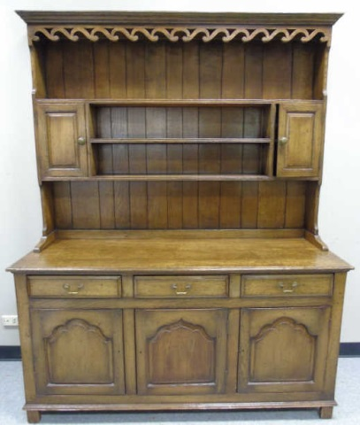 English Country Custom Made Step Back Hutch