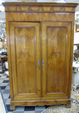 Antique French Empire 19th C Cherry Wood Armoire