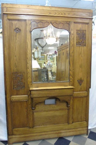 Antique Architectural Salvage Oak Mirror Panel