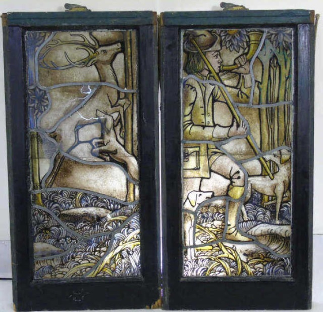 Antique Victorian Hunt Scene Stained Glass Panels