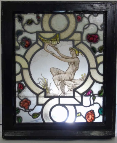 Art Nouveau Style Stained Glass Maiden w Angel