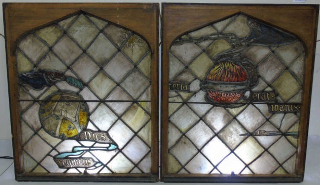Pair Antique Celestial Motif Stained Glass Panels