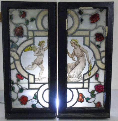 Pair Antique Stained Glass Panels Maidens & Angels