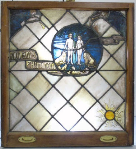 Antique 19th C Stained Glass Panel Adam & Eve
