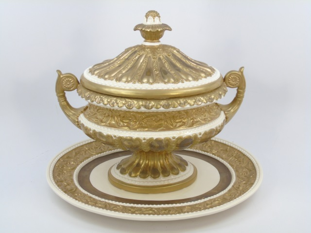 Italian Gold Leaf Decorated Porcelain Center Piece
