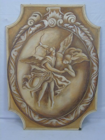 Signed - Large Hand Painted Plaque of Angels