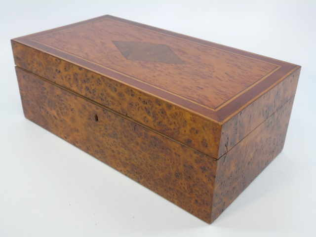 Antique Inlaid Burl Wood Velvet Lined Dresser Box