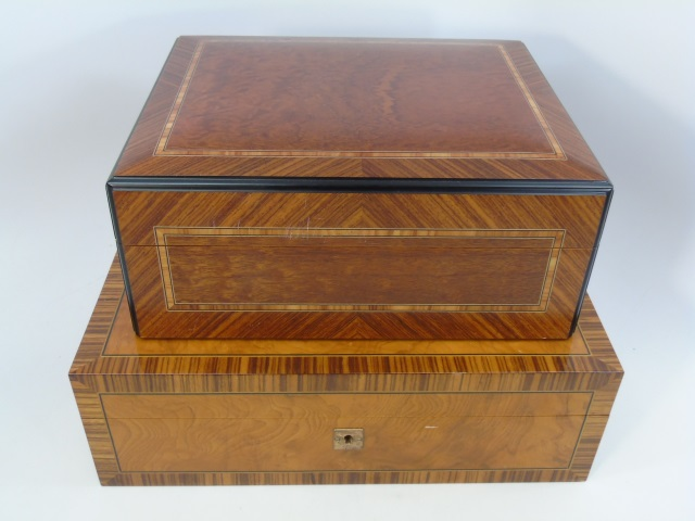Two Specimen Wood Humidor Cigar Table Boxes
