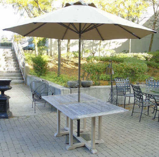 Contemporary Teak Outdoor Dining Table & Umbrella