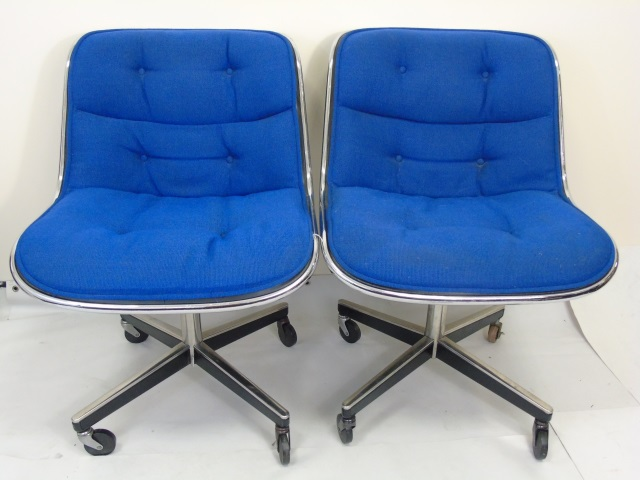 Pair Mid Century Modern Knoll Tufted Swivel Chairs
