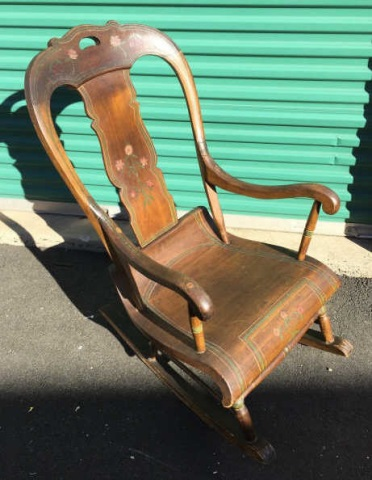 Antique 19th C American Hand Painted Rocking Chair