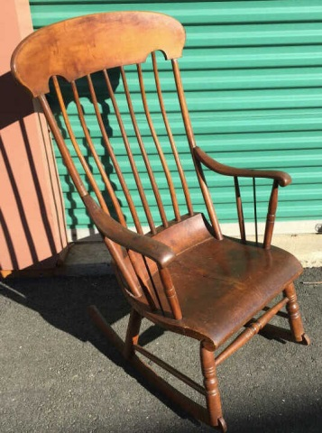 Antique 19th C American Hand Carved Rocking Chair