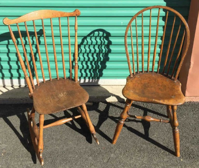 Antique 19th C American Rocking Chair & Side Chair