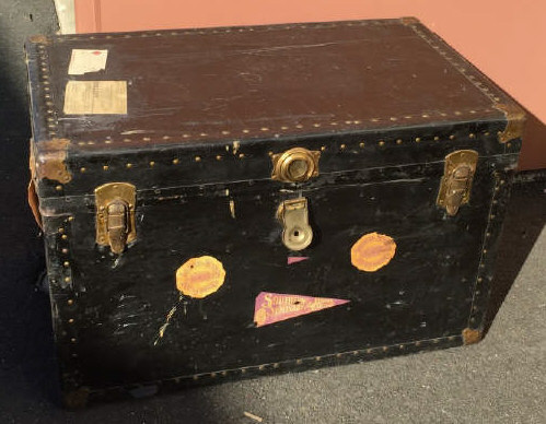 Antique Steamer Trunk w/ Luggage / Travel Labels