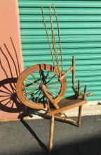 B Squier Signed Antique American Spinning Wheel