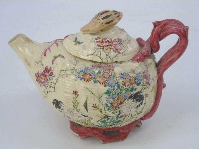 Antique Satsuma Style Japanese Porcelain Tea Pot
