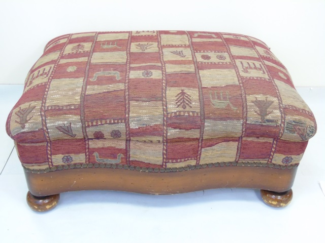 Carved Wood & Upholstery Foot Stool / Ottoman