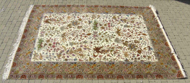 20th C Iranian Wool Silk Hand Knotted Ghoum Carpet