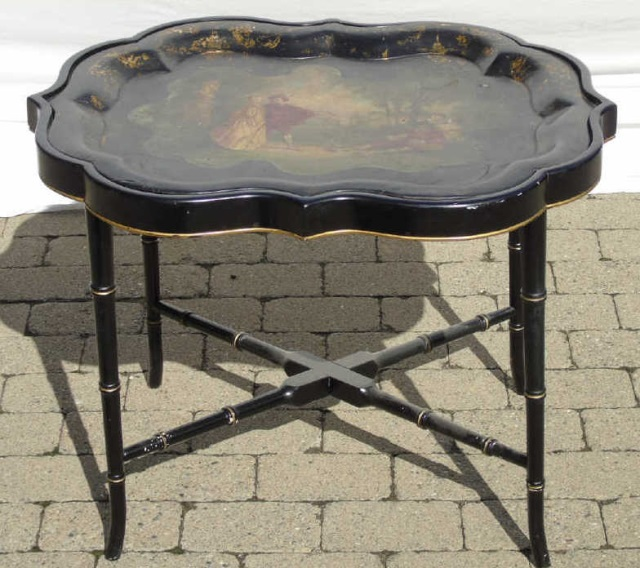 Antique Victorian Scalloped Edge Paper Mache Table