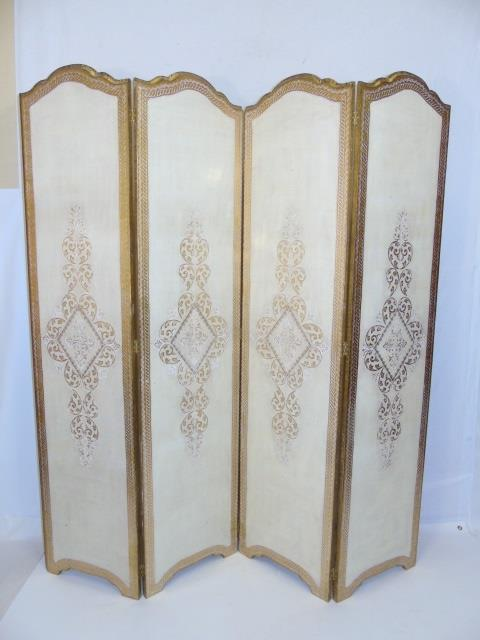 Italian Florentine Carved Wood Gold Leaf Screen