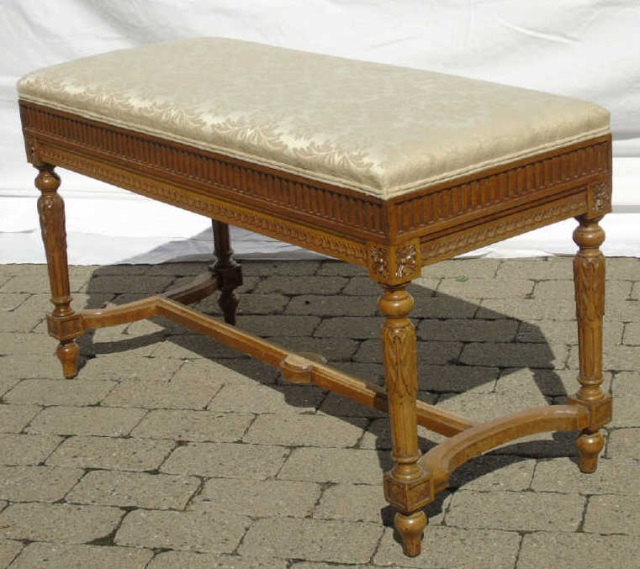 Finely Carved French Style Upholstered Bench