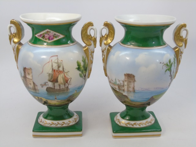 Antique 19th C French Hand Painted Urn Form Vases