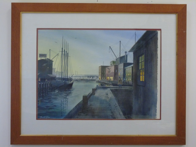 Newell Giles - Watercolor Painting of a Harbor