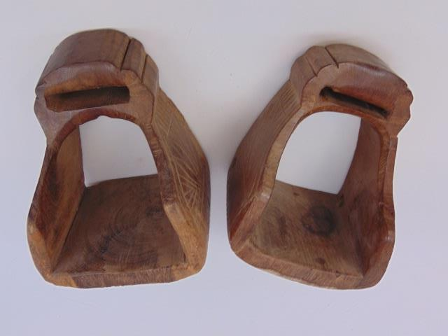 Antique Hand Carved Equestrian / Horse Stirrups