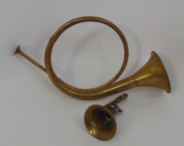 Two Antique Gilt Brass Hunt Horn Trumpet Instruments