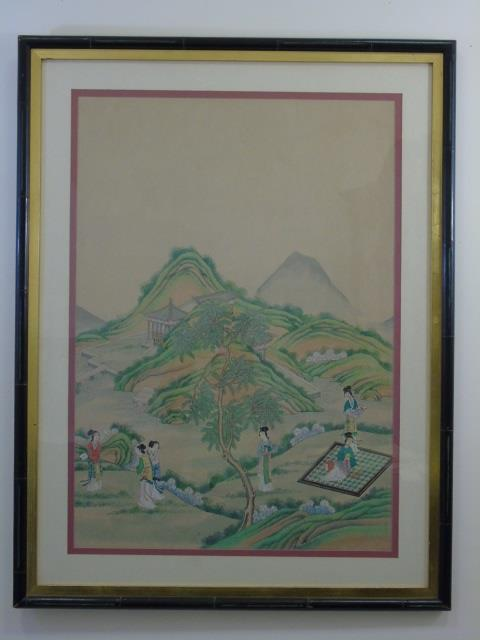 Chinese Landscape w Figures Watercolor Painting