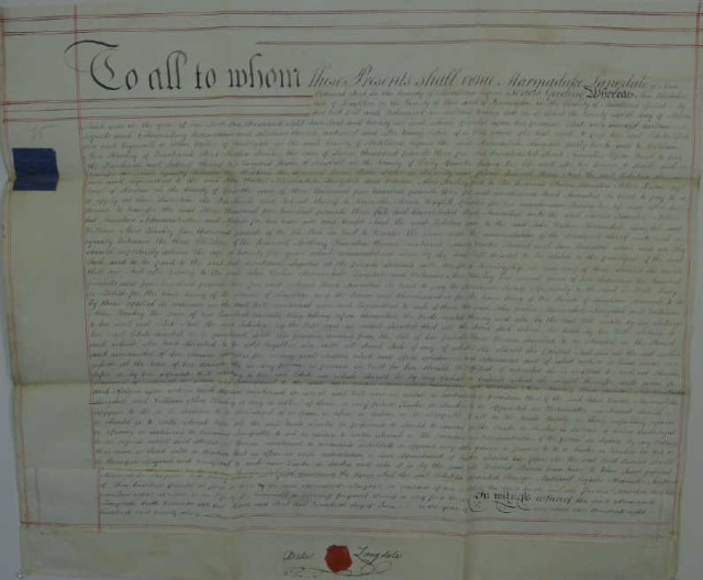Antique 1826 Legal Deed Document on Vellum