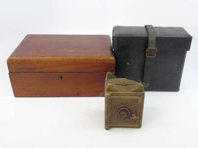 Antique & Vintage Boxes + Antique Iron Bank Toy