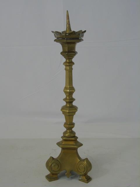 Antique 19th C Gilt Brass Candlestick Pricket