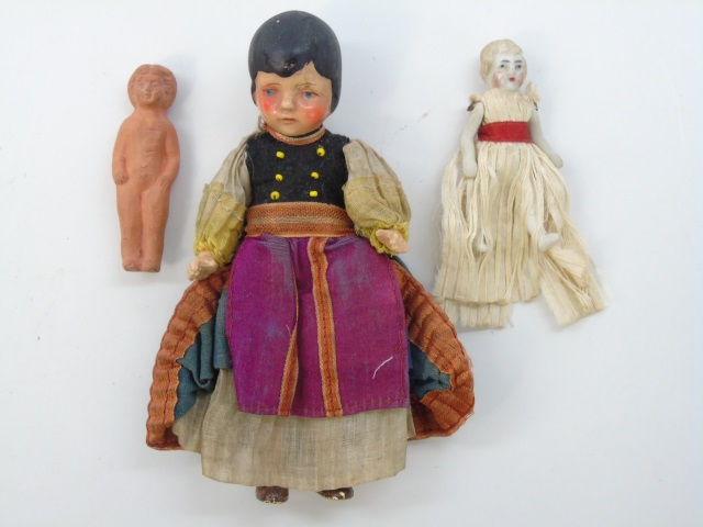 Three Antique 19th C Dollhouse Miniature Dolls