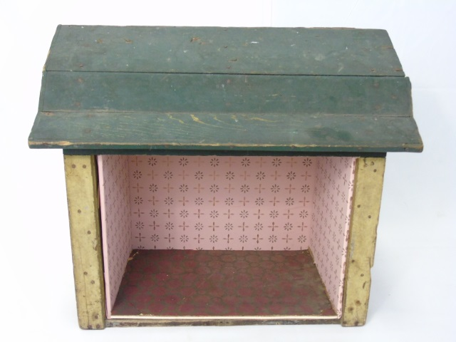 Antique 19th C Handmade Dollhouse Room Box