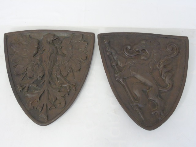 Pair Antique Iron Bronze Tone Heraldry Plaques