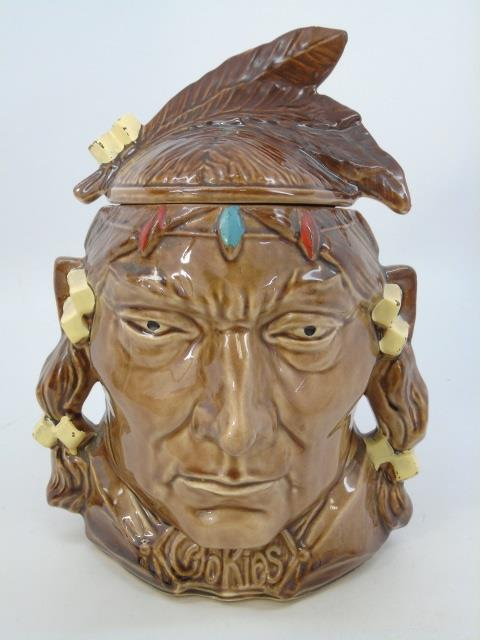 McCoy USA Art Pottery Native American Cookie Jar