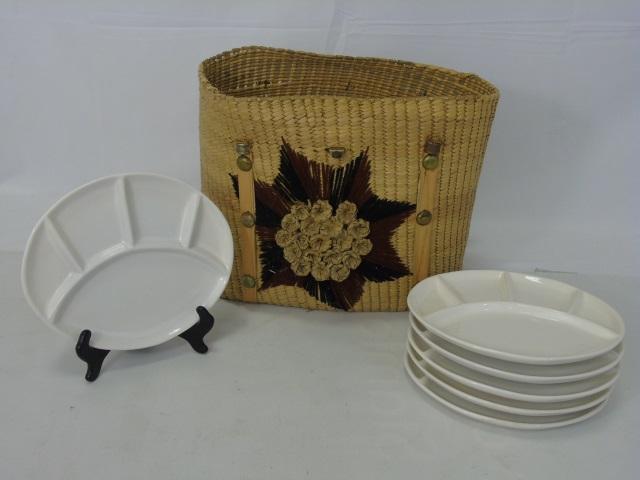 Vintage Woven Picnic Basket w/ Six Plates