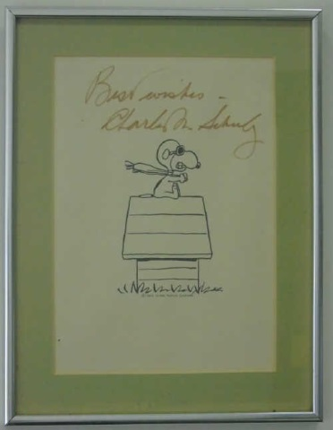 Signed Charles Schultz Framed Snoopy Print