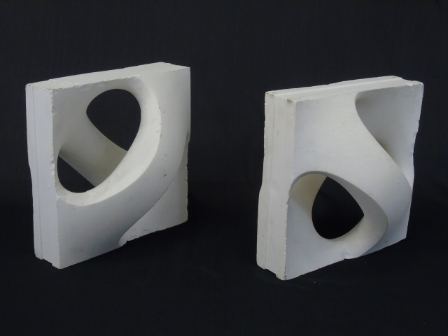 Pair Sculptural Mid Century Book Ends