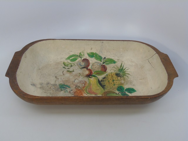 Vintage Carved Wood Hand Painted Dough Bowl
