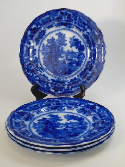 4 19th Century Flow Blue English Porcelain Plates