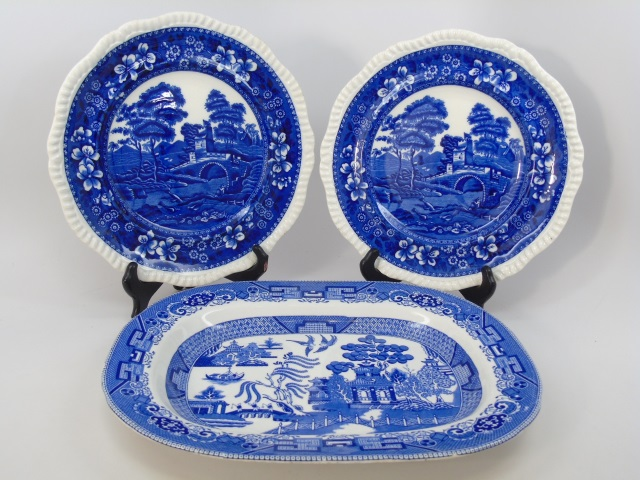 Antique Victorian Blue & White Blue Willow Plates
